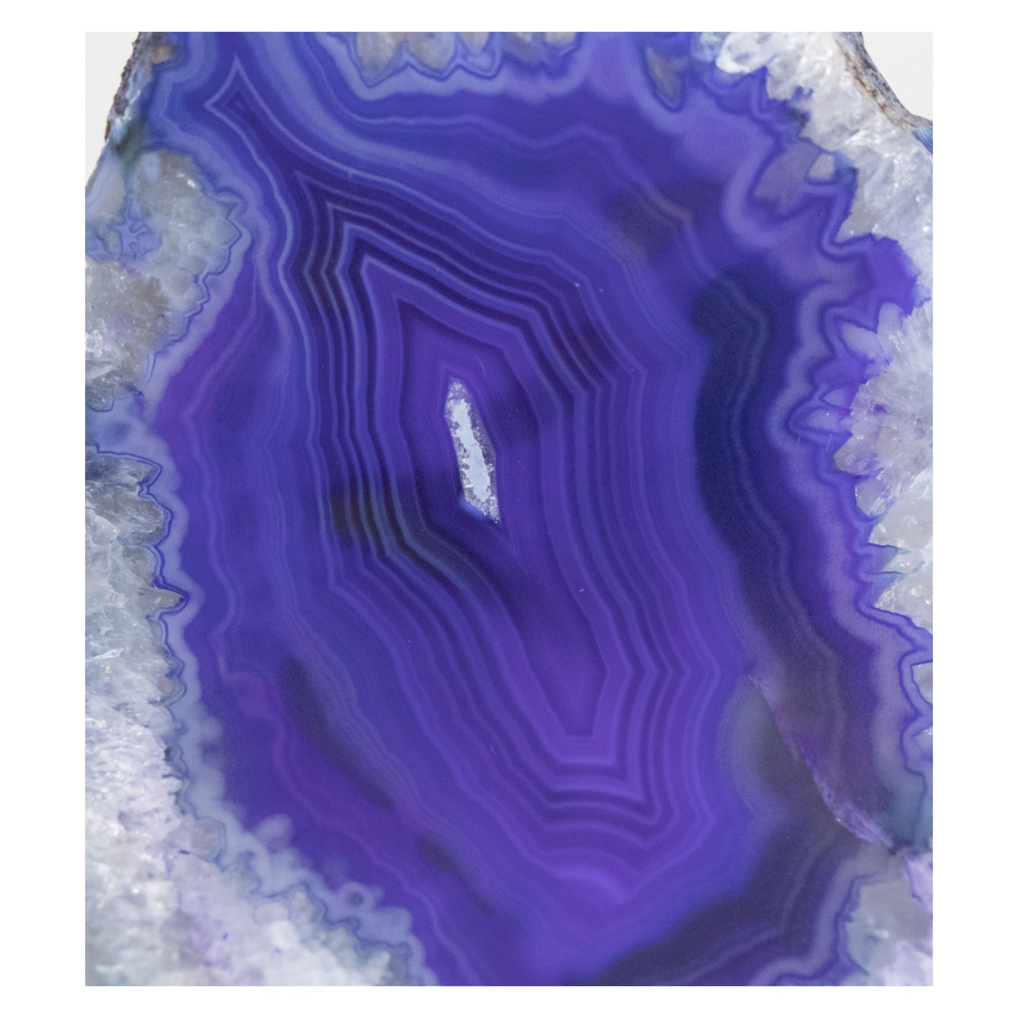Purple Banded Agate Geode Cut Base from Brazil