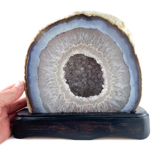 Natural Cut and Polished Geode on Wood Base from Brazil