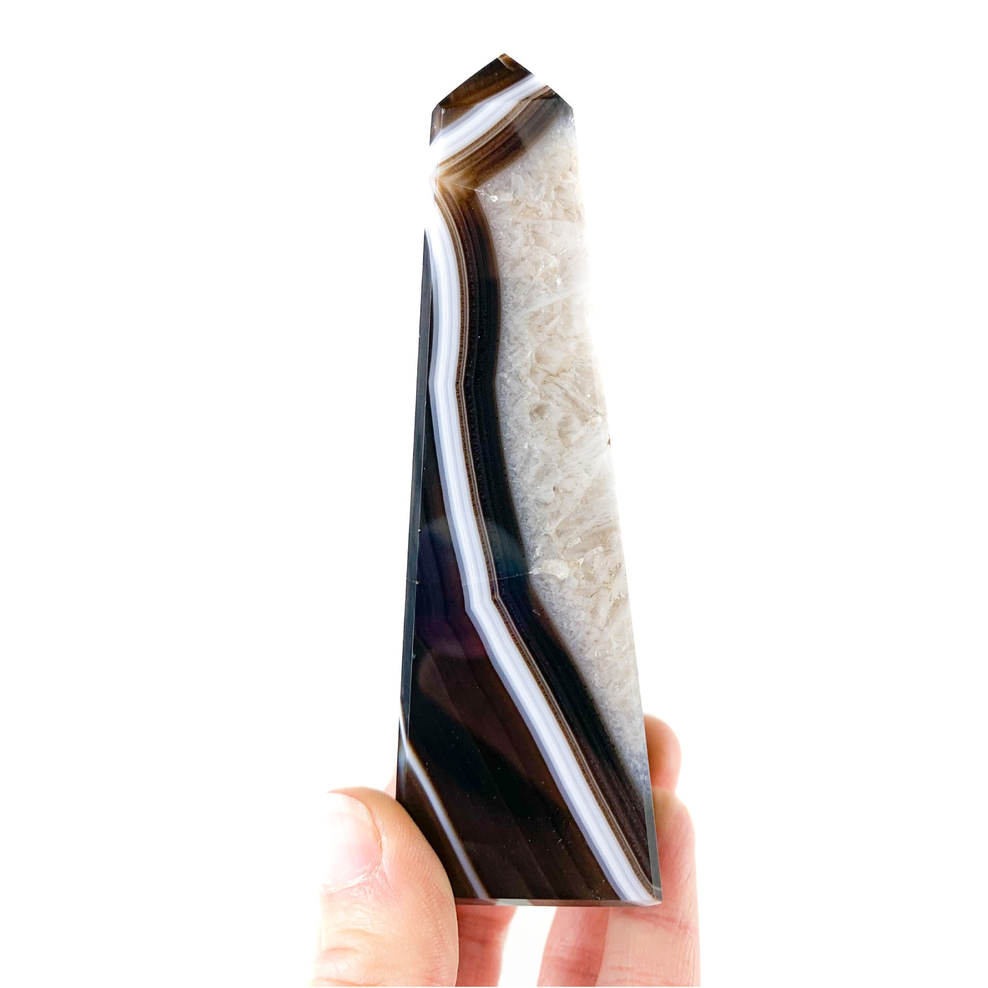 Natural Brown Colored Banded Agate Obelisk from Brazil