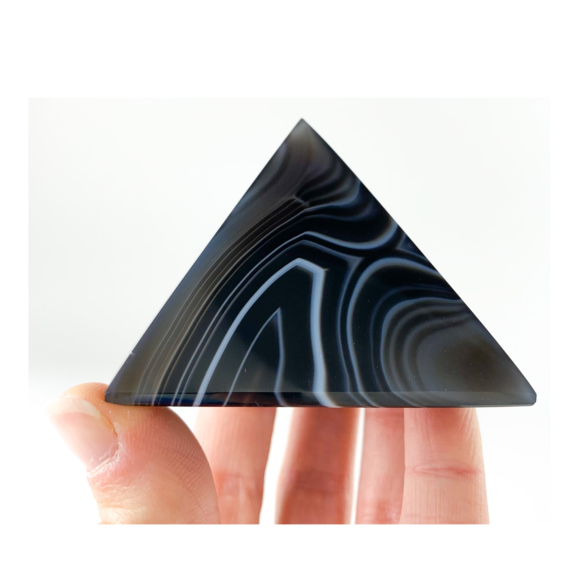 Black and White Banded Agate Pyramid