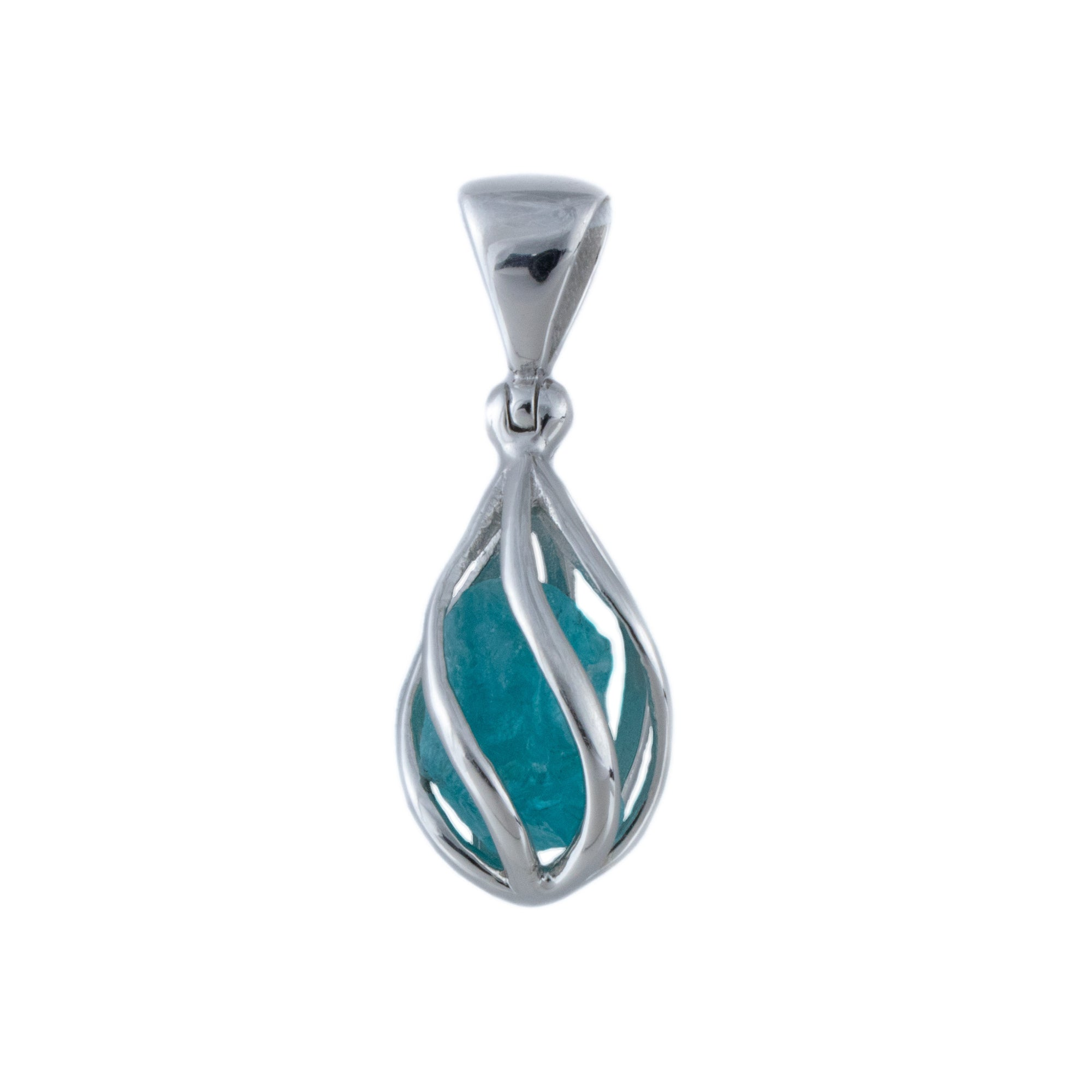 Raw Blue Apatite Pendant in Sterling Silver