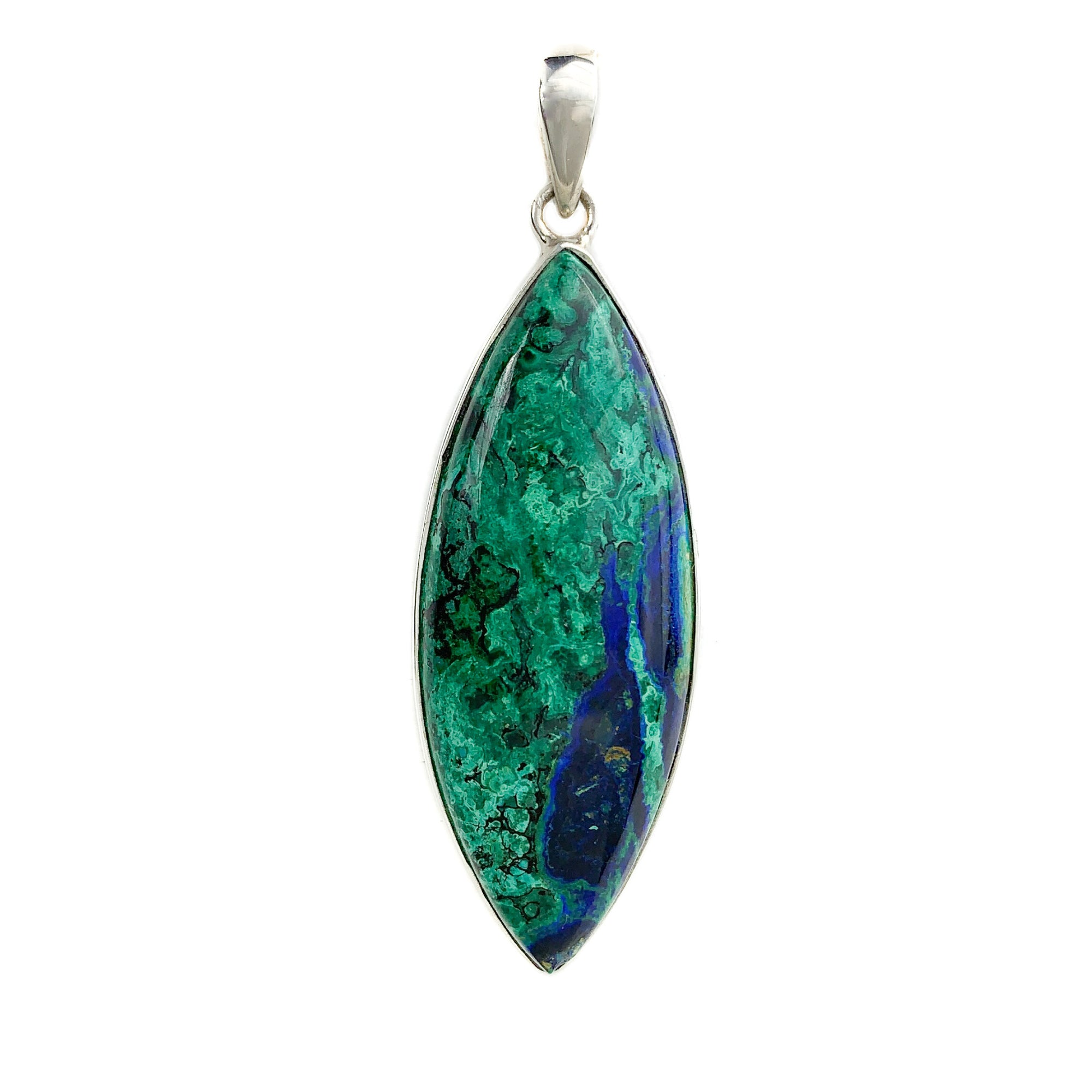 Azurite and Malachite Pendant Set in Sterling Silver