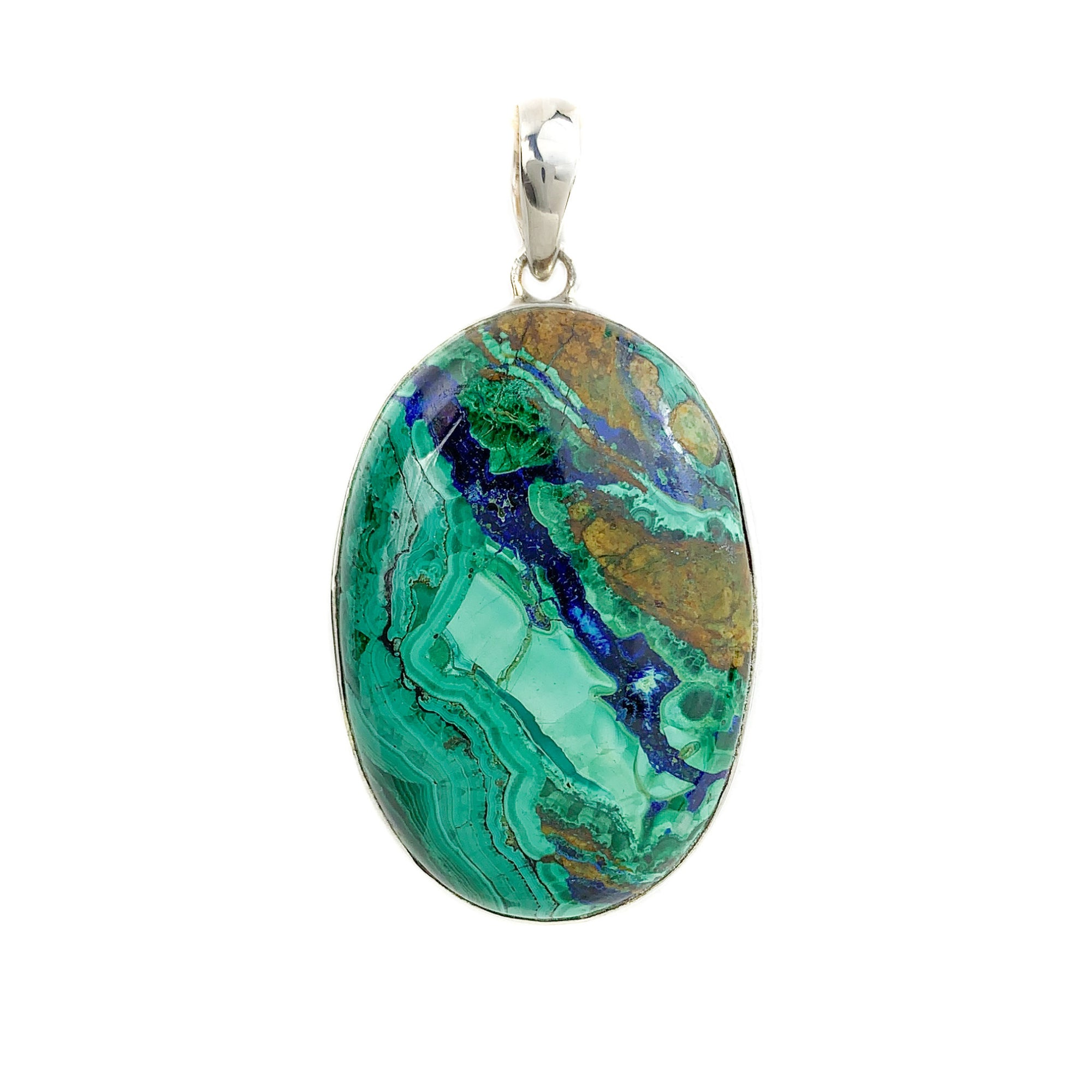 Azurite and Malachite Stone Necklace Set in Sterling Silver