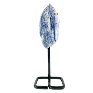 Raw Blue Kyanite Mineral Specimen on Metal Display Stand
