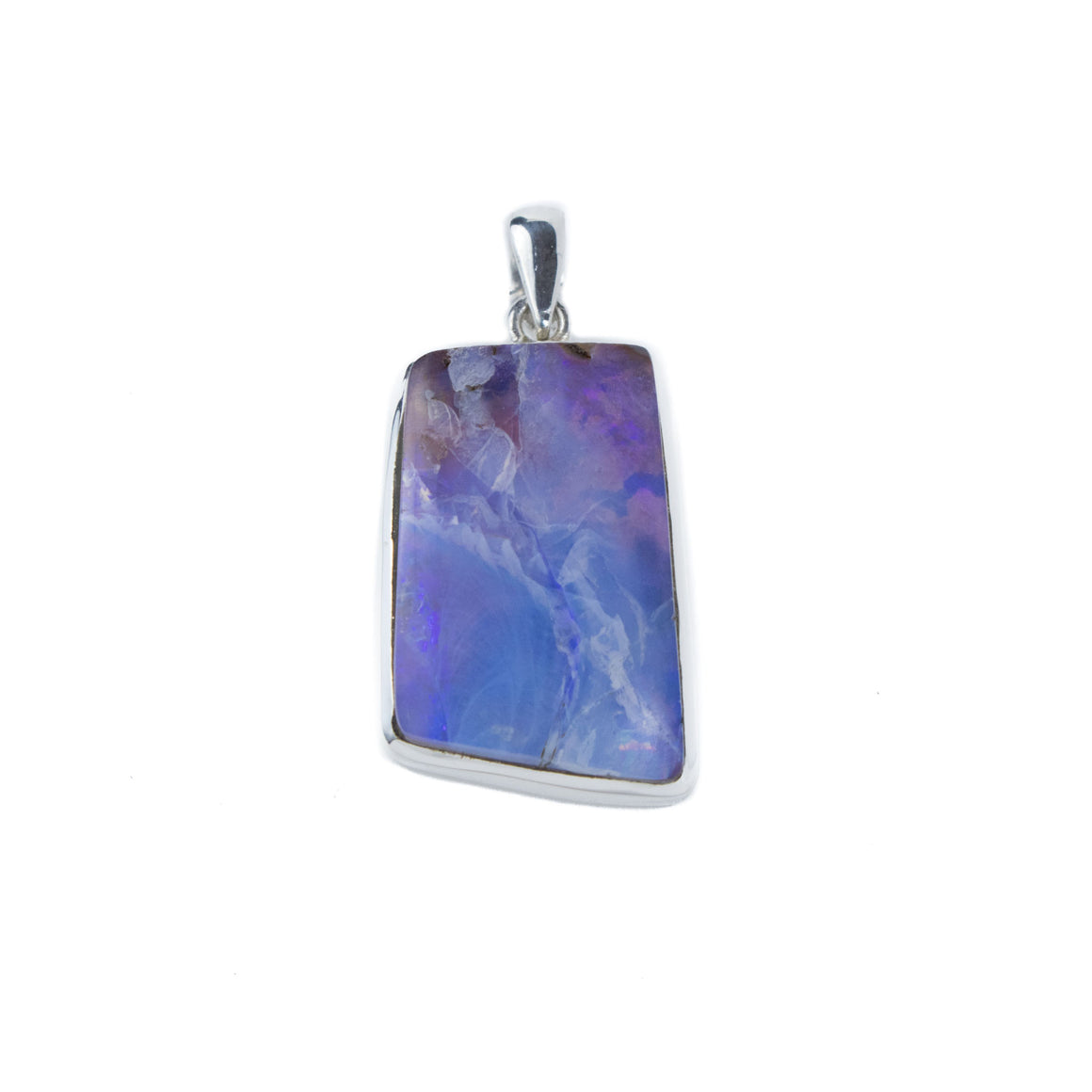Blue and Purple Boulder Opal Pendant in Sterling Silver