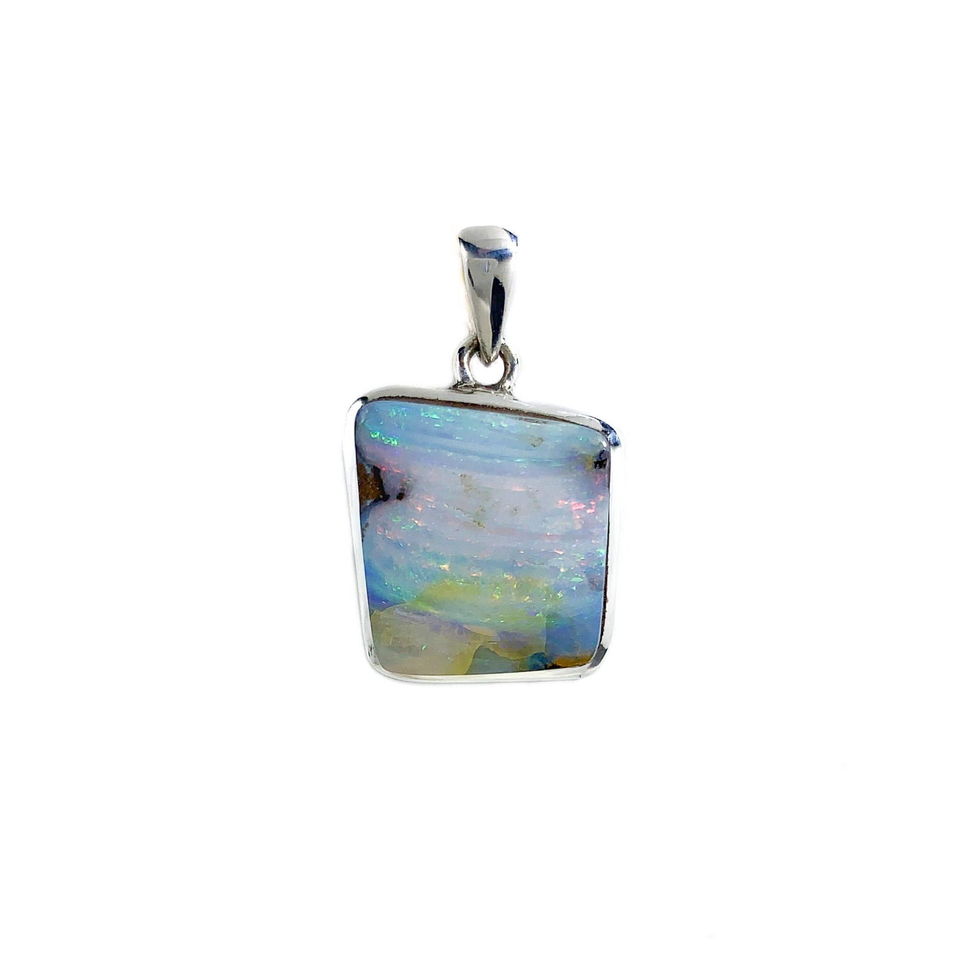 Blue and Pink Australian Boulder Opal Pendant set in Sterling Silver
