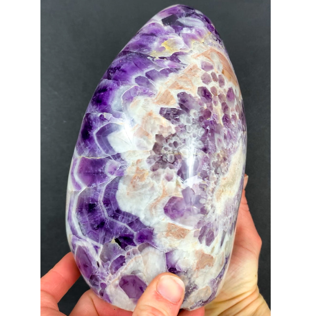 Chevron Amethyst Cut an Polished Free Form from Madagascar