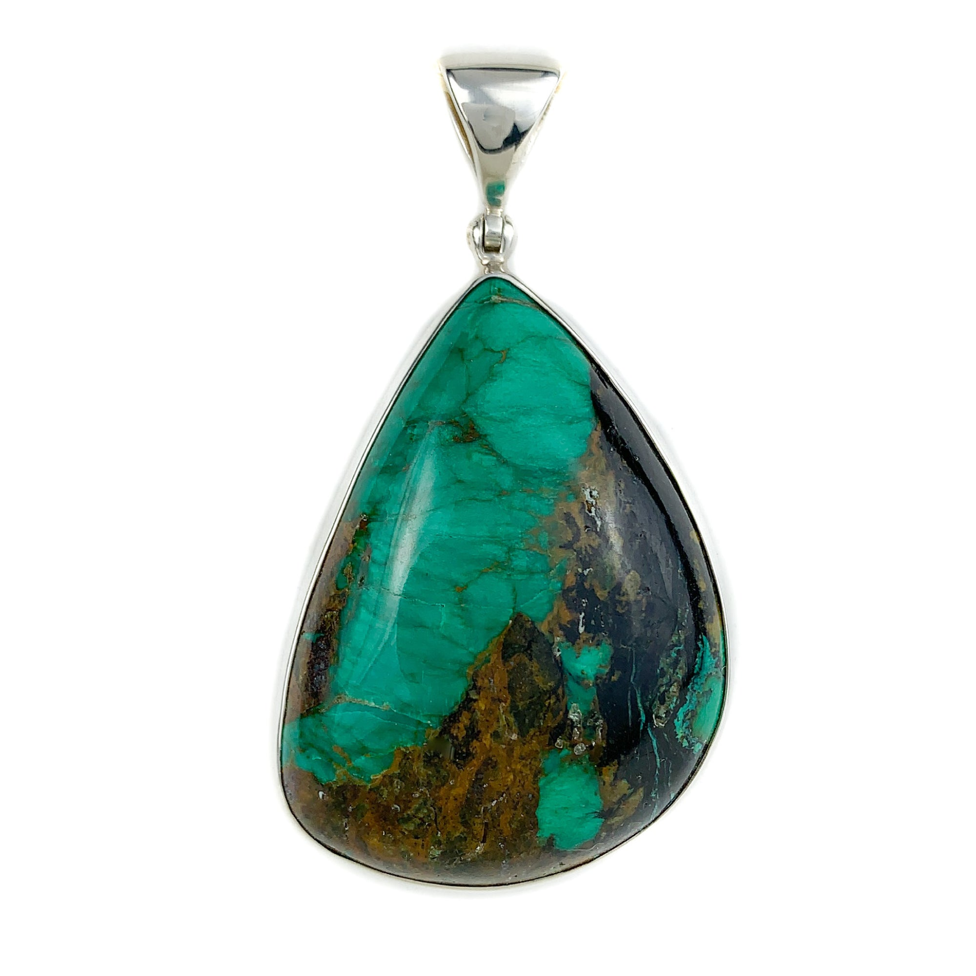 hChrysocolla (green) Pendant in Sterling Silver