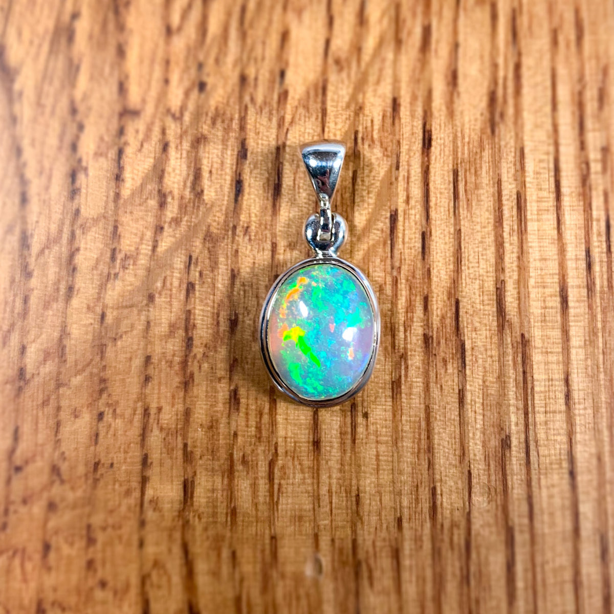 Rainbow Opal Stone Pendant / Necklace set in Sterling Silver