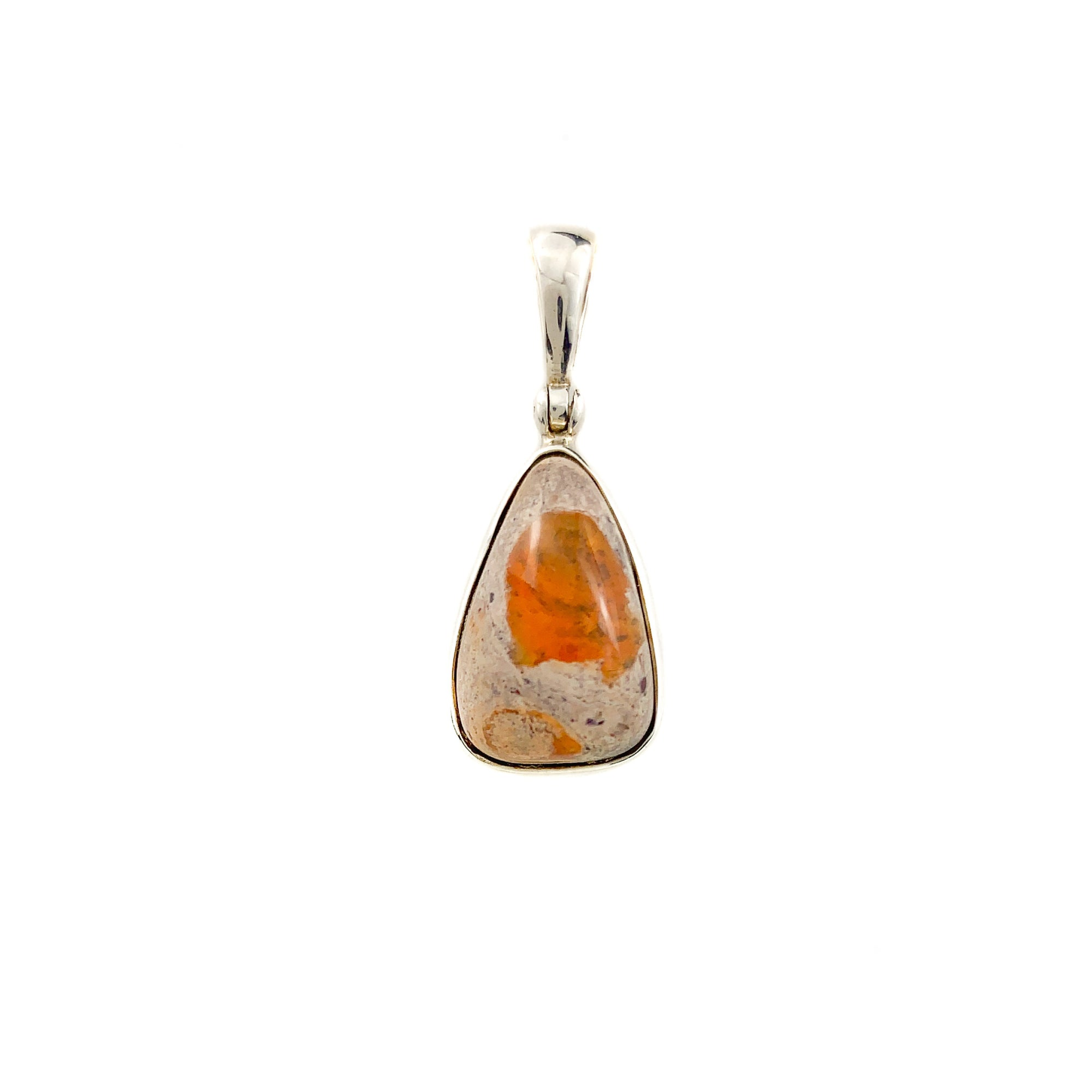 Fire Opal Pendant in Sterling Silver