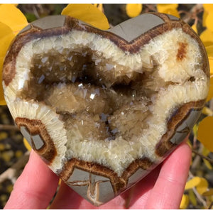 Golden Calcite Geode Heart (Septarian Concretion)