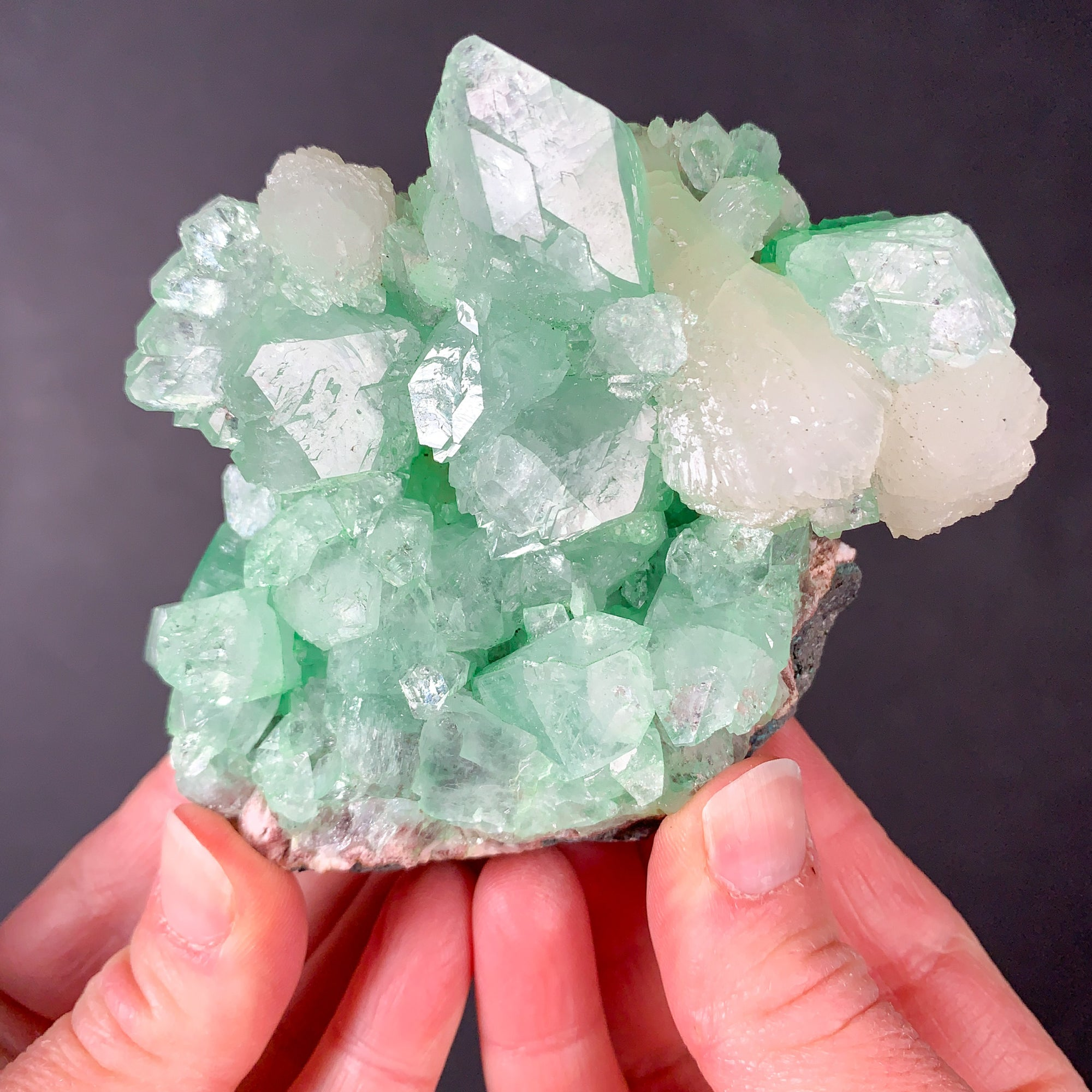 Green Apophyllite Crystals with White Stilbite