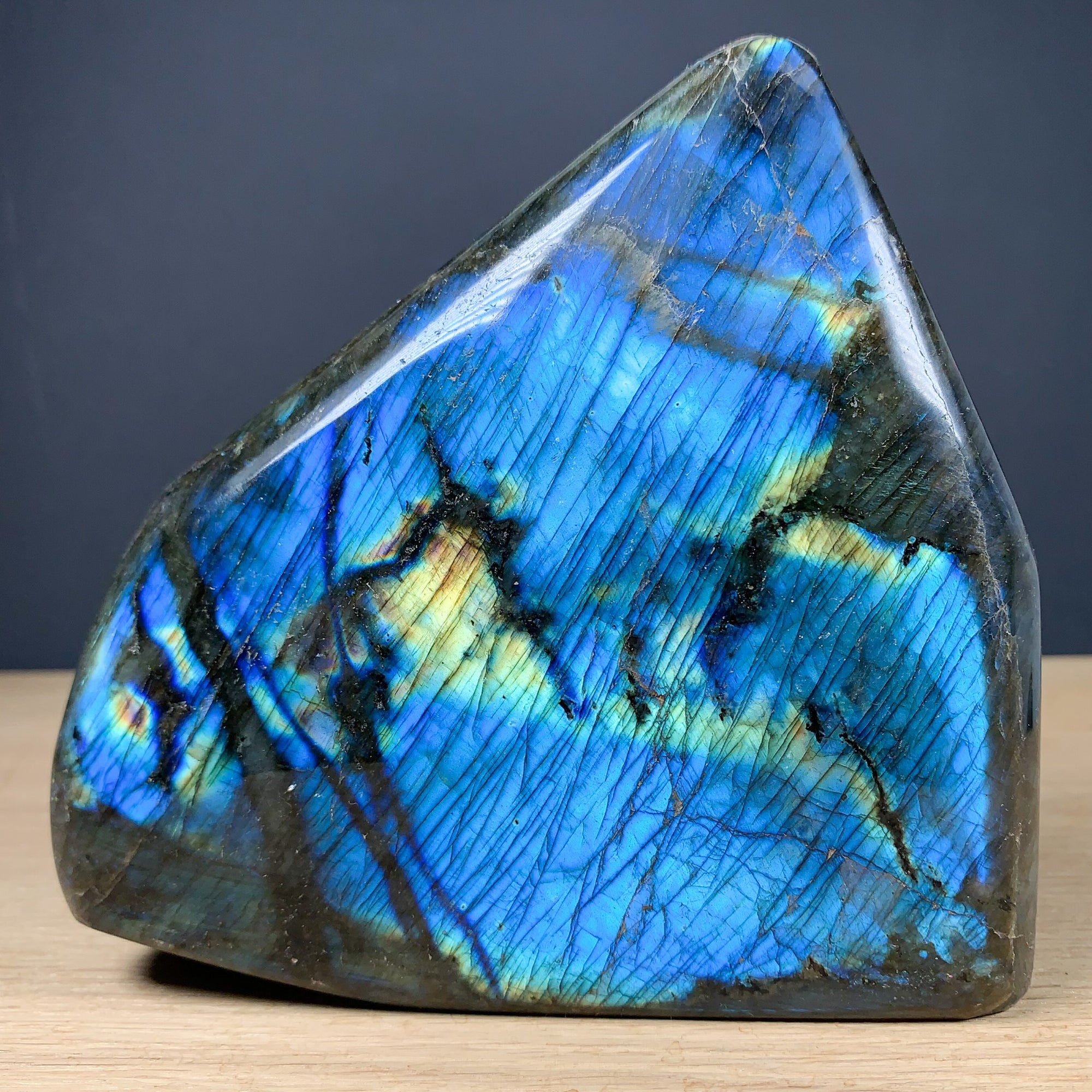 Labradorite Mineral Specimen (blue and gold) from Madagascar
