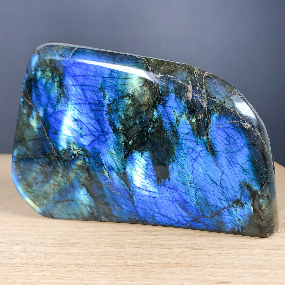 Labradorite Crystal - Blue and Gold Colors from Madagascar