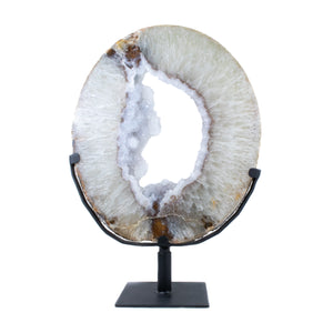 Large Agate Geode on Metal Stand