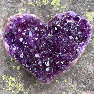 Large Amethyst Geode Crystal Heart Shaped Rock