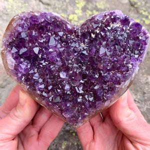 Large Purple Amethyst Geode Crystal Heart