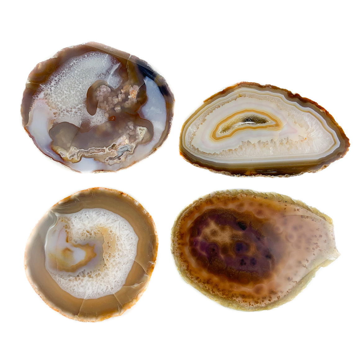Natural Agate Geode Coasters Set of 4 Brazil