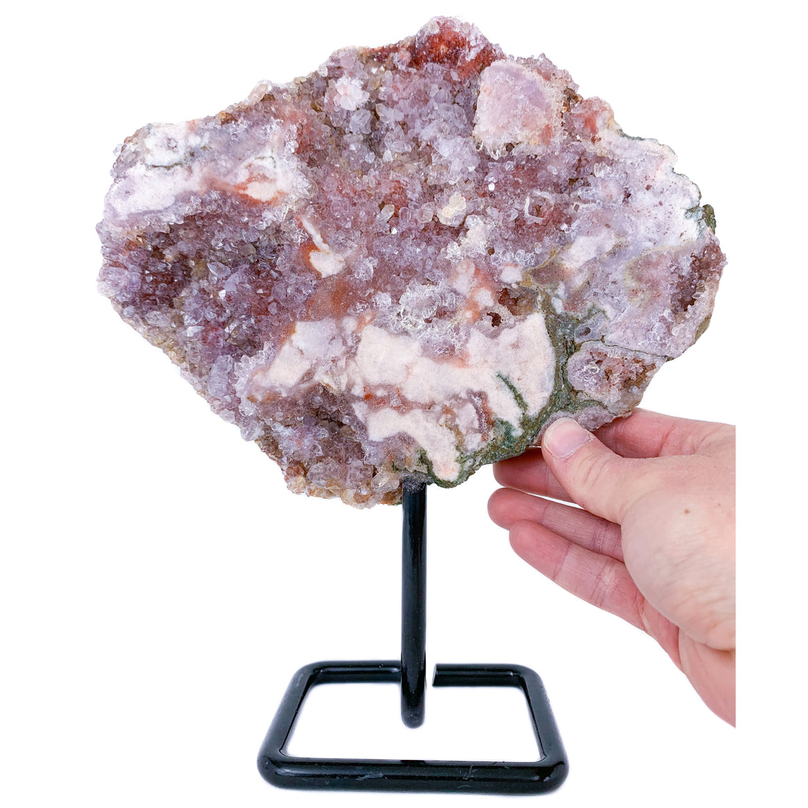 Pink Rose Amethyst on Metal Stand