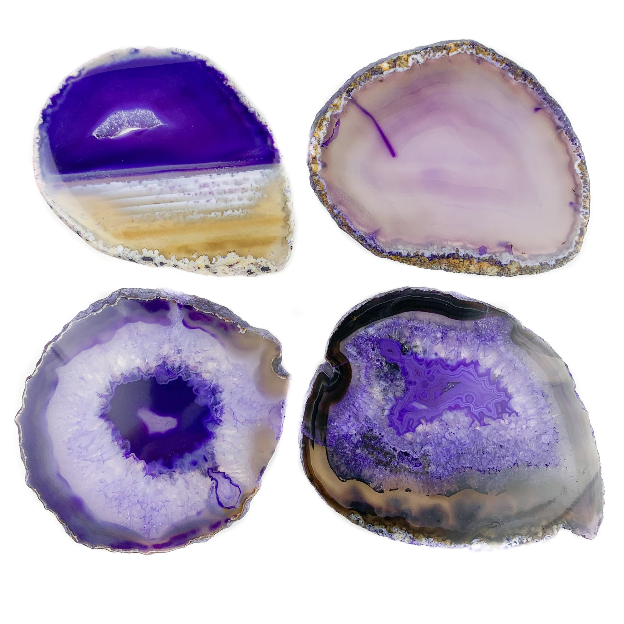 Purple Banded Agate Geode Coasters Set of 4 from Brazil