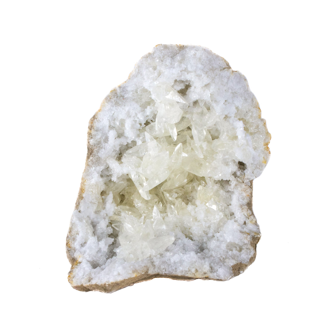 Quartz Geode with Calcite Crystals, white crystals from Morocco