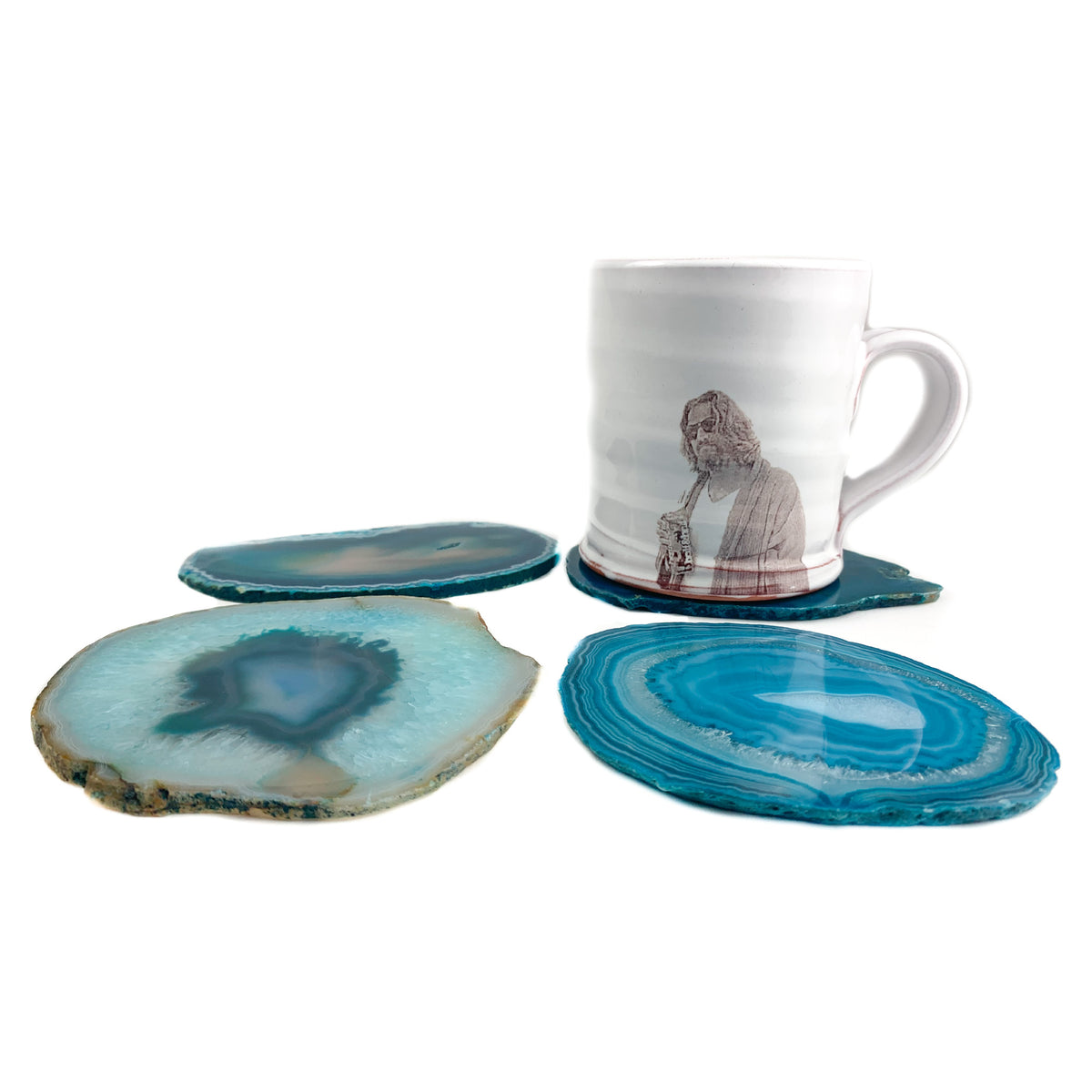 Teal Banded Agate Geode Coasters Set of 4 from Brazil