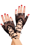 Black Lace up Wrist Fishnet Gloves