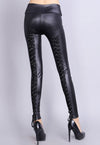 Black Lace Up Back Stretch Leather Leggings