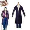 Suicide Squad The Joker Cosplay Costume Halloween Party Joker Batman Purple Trench Coat PU Cloak