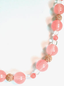 Cherry Quartz, White quartz, Rhodochrosite necklace