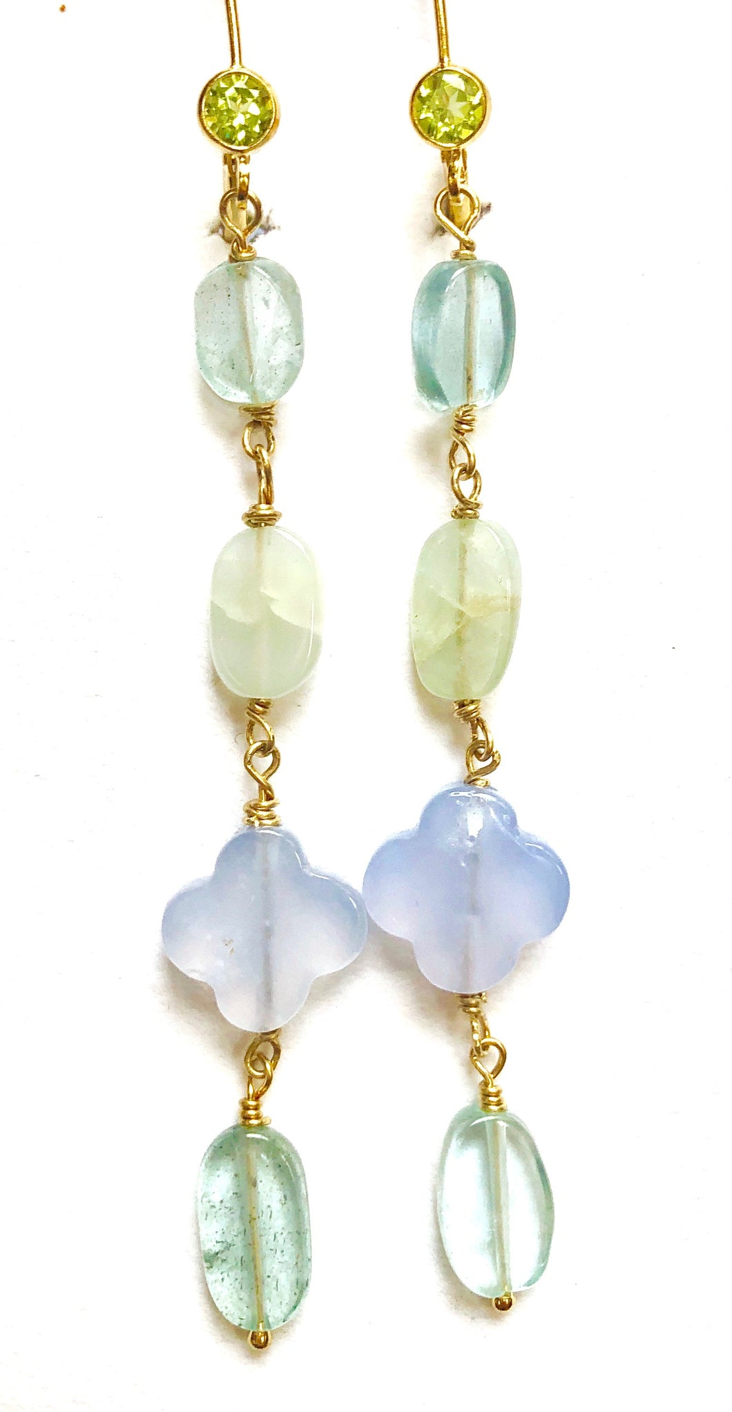 Lively Blue Lace Agate, Moonstone, Violet & Pink Quartz Drop Earrings