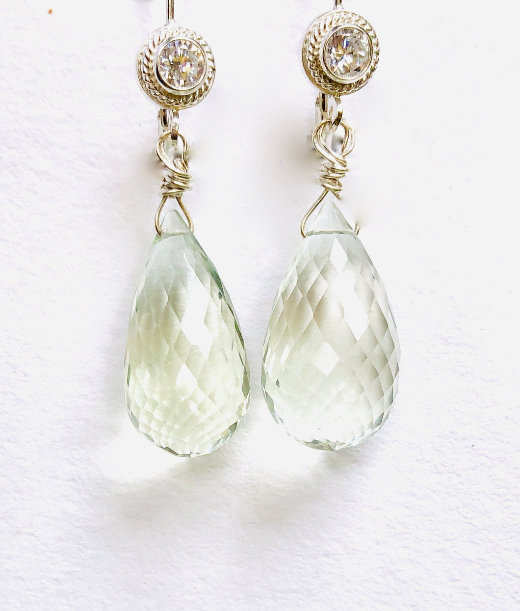 Sea Foam Colored Green Amethyst Earrings are Amazing!