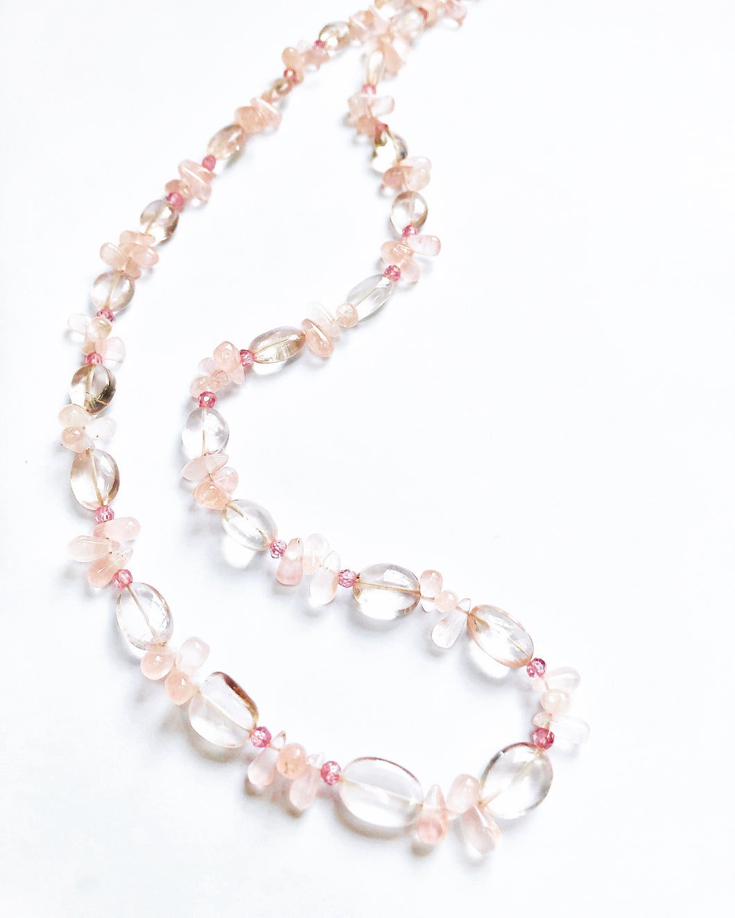 Flows Like Ruffles! Feminine Rose and Pink Quartz Necklace