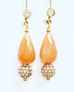 Faceted Peach Moonstone Drop Earrings w Rose Gold