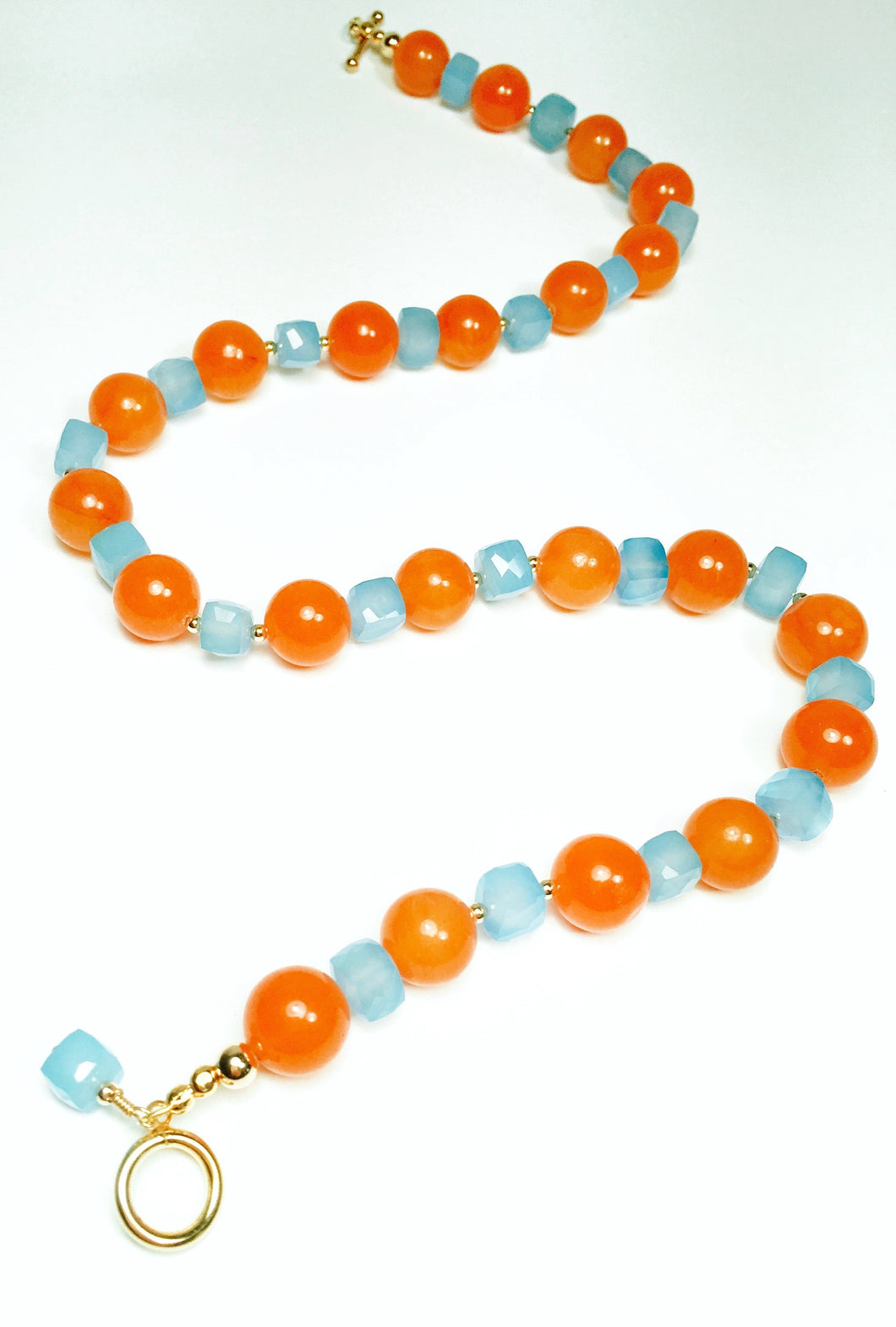 Robin's Egg Blue Chalcedony & Carnelian Necklace