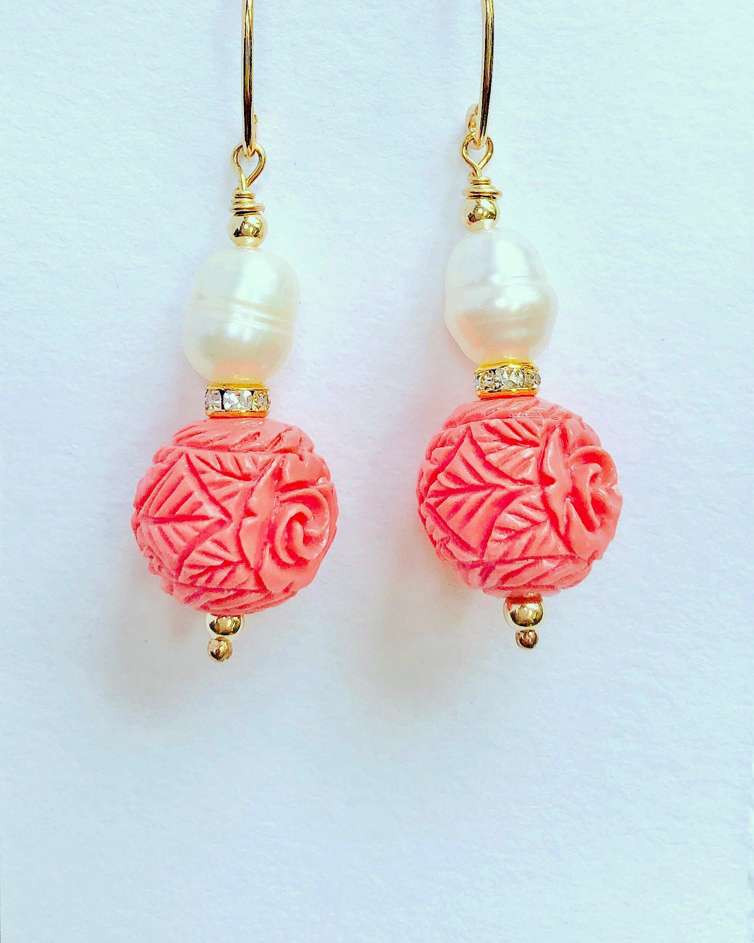 Carved Natural Coral Drop Earrings With Pearls