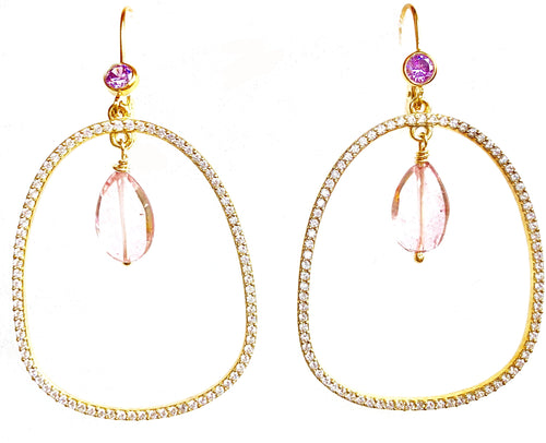 Pink Quartz, Amethyst & Pave White Topaz Drop Earrings