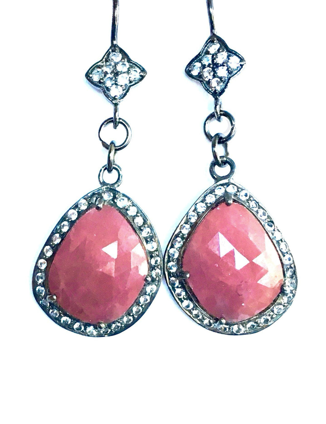 Quatrefoil White Topaz and Faceted Ruby Slice Earrings