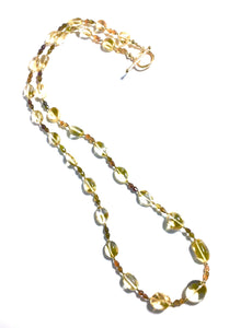 Flowing, Golden Champagne Quartz and Tourmaline Necklace