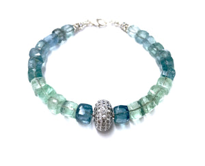 802321940831e Colors of the Sea: Square-cut faceted Apatite and White Topaz Bracelet