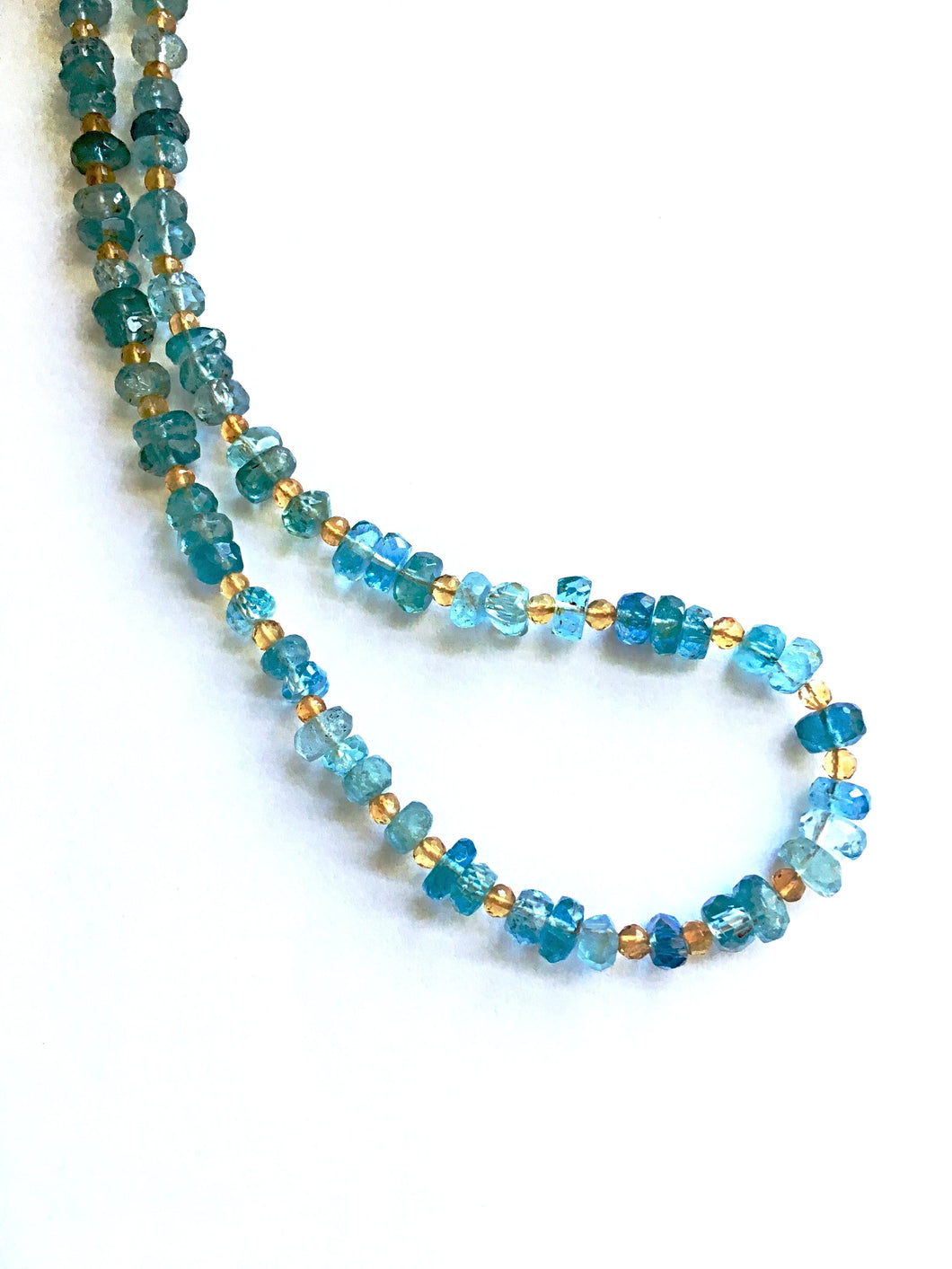 Simple Elegance: Hand Cut Aquamarine and Citrine Necklace