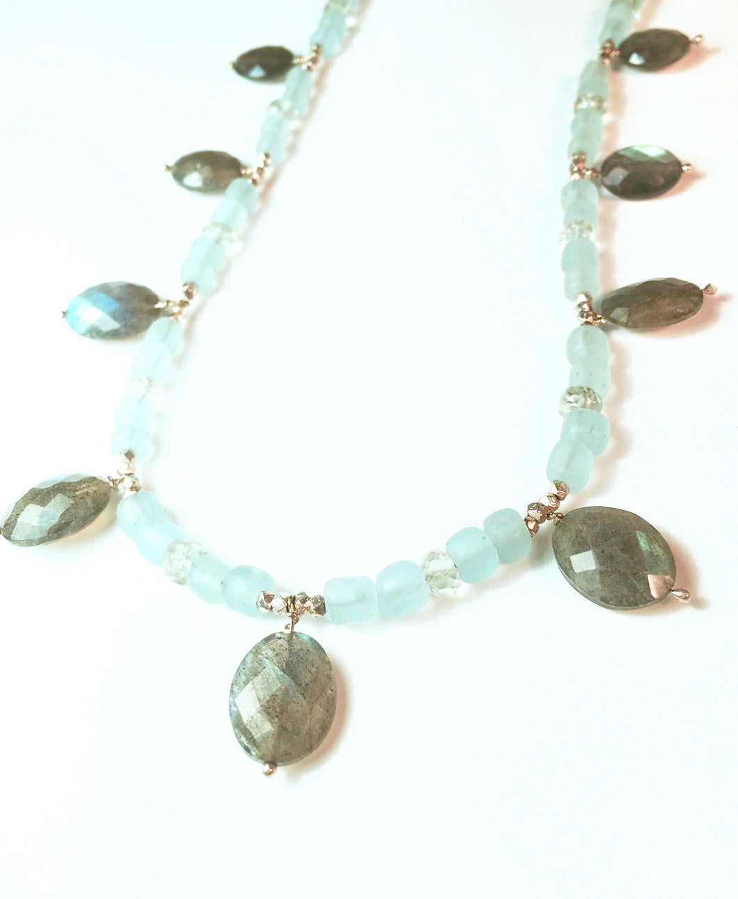 Sea Glass, Sterling and Labradorite Necklace