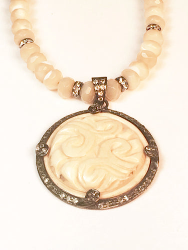 Found Object Antique Carved Pendant and Mother of Pearl Necklace