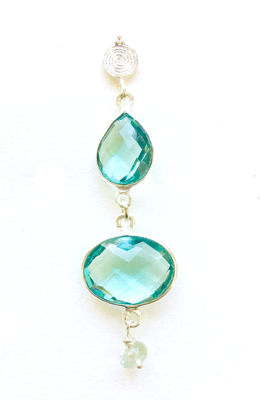 Beautiful Double Drop Blue Topaz Earrings