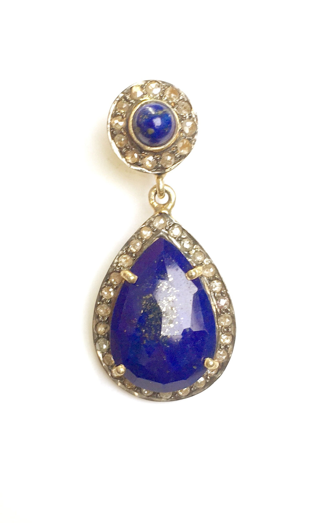 Beautiful antique Lapis Lazuli and Old Mine Cut Diamond Earrings