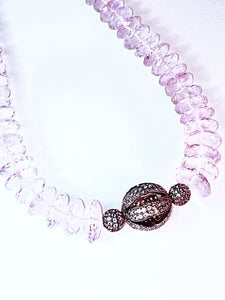German Cut Pink Amethyst Necklace with White Topaz