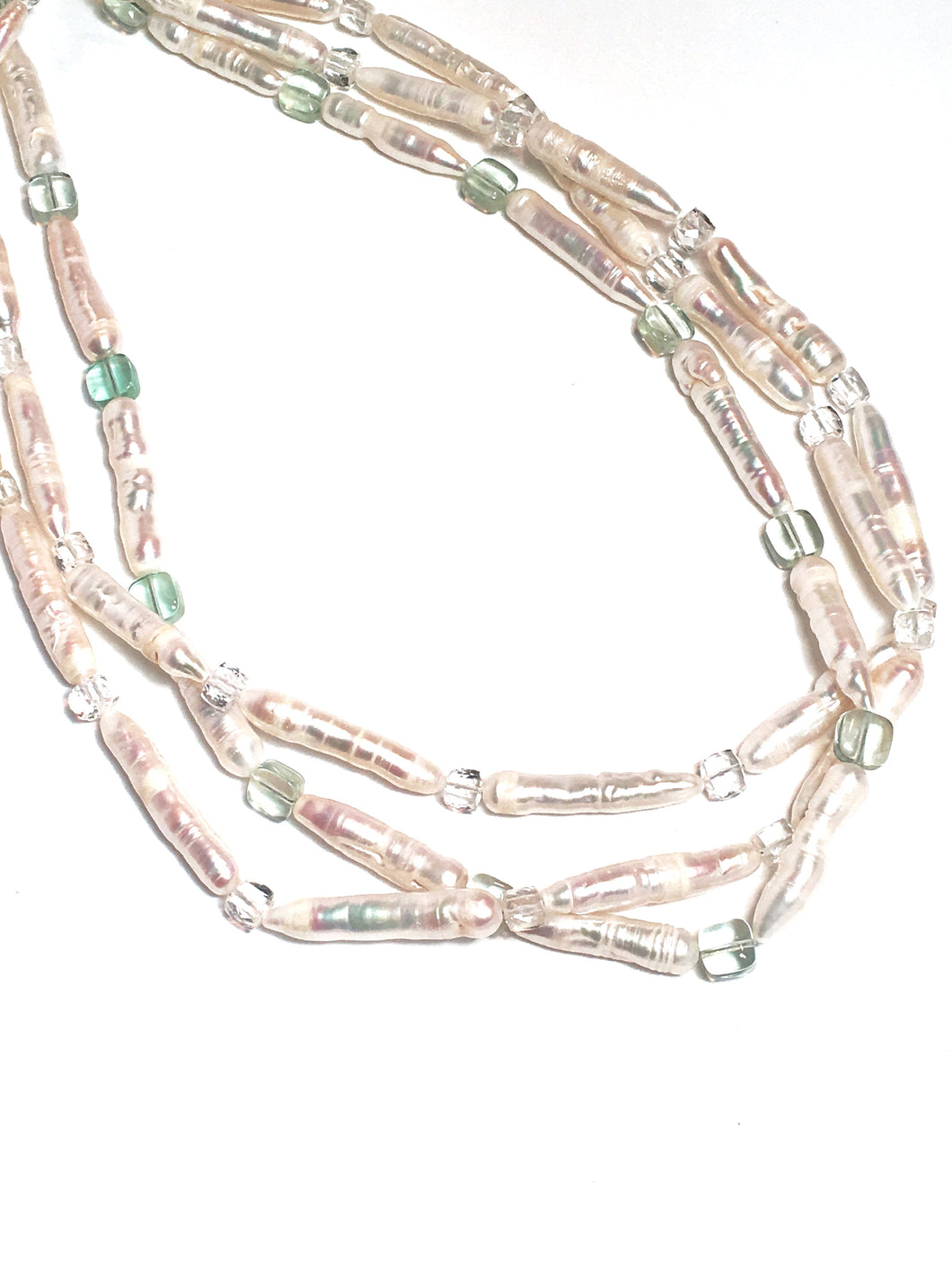 White Matchstick Freshwater Pearls and Subtle Gems