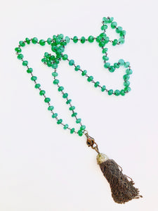 Gorgeous Green Onyx with Diamond Happy Snake Tassel!