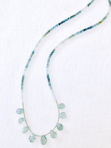 Weekend Style! Faceted Ombre Moss Aquamarine Necklace