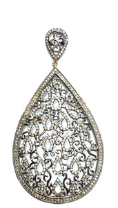 Teardrop Double Drop Diamond Open Paisley Design Earrings